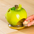 """Teelichthalter """"Apfel mit Würmchen"""""""