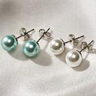 Perlen-Ohrstecker weiß + bleu