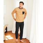 Pyjama camel/schwarz, 2-tlg.